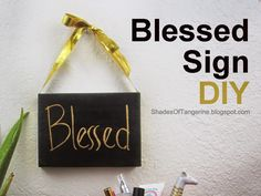 DIY Holiday sign - Blessed - made with a recycled #Birchbox lid