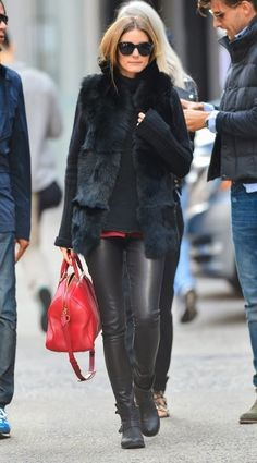 Olivia Palermo wearing Daryl K Stretch Leather Pants in Black, Report Jude Moto Boot and Louis Vuitton Sofia Coppola Satchel bag in New York City. October 14 2013 #OliviaPalermo