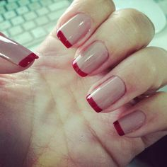 Unha vermelha red nails, nailart, beautiful nail designs, nail tips, hallow Frensh Nails, Red Tip Nails, French Tip Nails, Nude Nails, Red Nail, Prom Nails, American Nails, Holiday Nails, Manicure And Pedicure