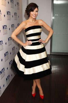 Black and white Stripe fashion | Black and white striped dresses, Stripe accessories, Monochrome tops and high heeled shoes all inspired by the hottest Celebrity Trends