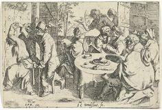 Joost Cornelisz. Droochsloot   Drie bedelaars en een vrouw aan tafel in een herberg, Joost Cornelisz. Droochsloot, Johannes Pietersz. Berendrecht, 1618 - 1648   Drie bedelaars zitten in een herberg aan tafel. De ene wordt vergezeld door een vrouw. Op een stoel bij het raam zit een doedelzakspeler. Links danst een kreupel met een andere bedelaar.