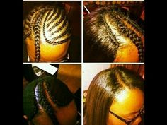 Sew-in by me. Side part. Sew In Braid Pattern, Braid Patterns, Sew In Braids, Crochet Braids, Curly Hair Styles, Natural Hair Styles, Diy Wig, Sew In Hairstyles, Afro