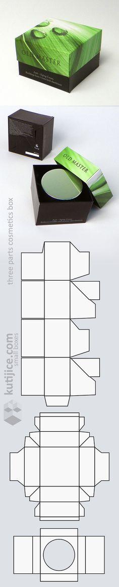 three parts cosmetics box (die cut form)