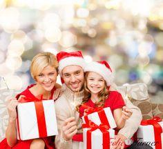 Smiling Family Holding Gift Boxes   www.teelieturner.com #christmas