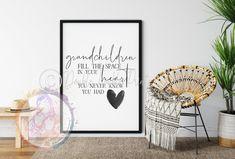 Grandchildren quote, wall art, home, wall decor, funny - A3+