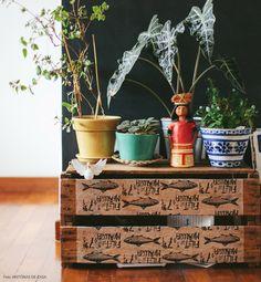 Caixote de feira estilizado com papel estampado serve de apoio para as plantas.
