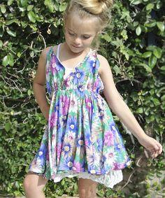 Loving this Green & Pink Floral Dress - Toddler & Girls on #zulily! #zulilyfinds