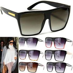 bff2257886 Details about Square Flat Top Large Sunglasses Big Oversized Huge Gradient  Frame Women XL
