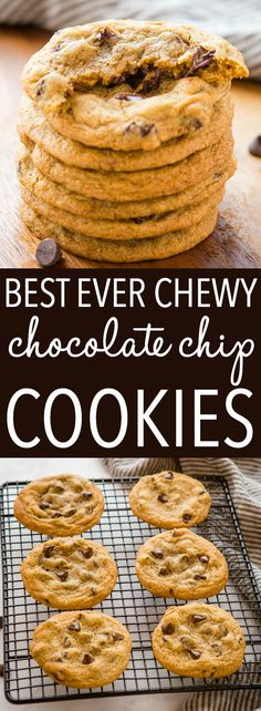 These Chewy Chocolate Chip Cookies are soft and chewy on the inside and crispy on the outside - the PERFECT chocolate chip cookies with pro tips! Recipe from thebusybaker.ca #perfectchocolatechipcookies #chewychocolatechipcookies #homemadecookies #baking #chocolatechips #afterschool #homemade #familyrecipe via @busybakerblog Delicious Cookie Recipes, Best Dessert Recipes, Brownie Recipes, Easy Desserts, Baking Recipes, Real Food Recipes, Chewy Chocolate Chip Cookies, Cooking Recipes, Cake Recipes