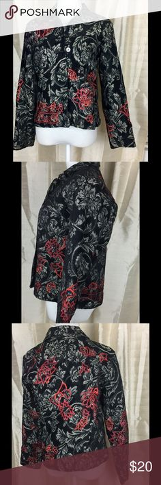 "Chico's Beautiful beaded Jacket. Sz O Check out this great looking Chico's jacket.  Measures shoulder to shoulder 17"". Armpit to armpit 8"". Waist 17"". Length 21"".  In good condition.  All beads are there! Chico's Jackets & Coats Blazers"