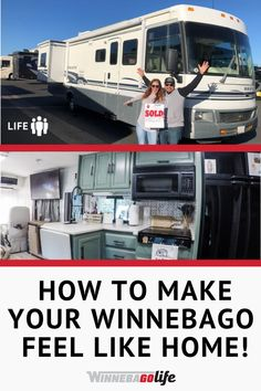 """Looking for ways to make your motorhome """"homier""""? Whether it is a brand-new motorhome or new to you, check out these five tips and tricks to make it feel like a home to you! These ideas for quick Road Trip Adventure, Rv Interior, Makeover Tips, Rv Hacks, Rv Life, House On Wheels, Rv Living, Motorhome, 5 Ways"""