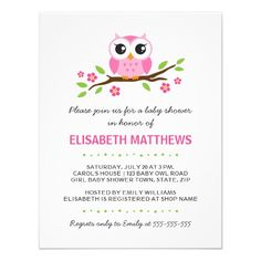 Cute pink owl on floral branch girl baby shower invitation.  $2.05