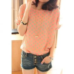 Women's Chiffon Shirt With Sweet Loose-Fitting Style and Fashionable Dot Patterns Scoop Neck Bat-Wing Sleeves Design