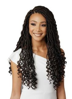 Bobbi Boss African Roots Braid Collection Crochet GODDESS LOCS 18 Inch, Soft & Light, Premium Fiber, Kanekalon®, Flame Retardant, Safe Fiber, Crochet, Hand-Made, Pre-Made Loop, Hot Water Sett, ebonyline.com #africanbraids