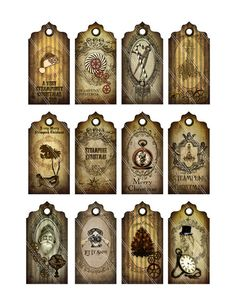 Steampunk Christmas Tags Labels instant by VectoriaDesigns on Etsy Steampunk Crafts, Steampunk Images, Image Digital, Vintage Tags, Christmas Tag, Christmas Crafts, Steampunk Fashion, Dieselpunk, Christmas Printables