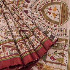 Ghanshyam Sarode Madhubani Printed Tussar Silk Saree 10005506 - AVISHYA