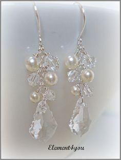 Bridal Earrings Swarovski Baroque Clear Crystal by Element4you, $28.00
