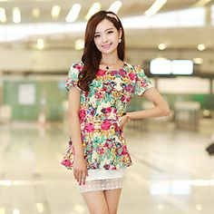 Women's Casual/Print/Party Micro-elastic Short Sleeve Above Knee Dress (Spandex/Polyester)