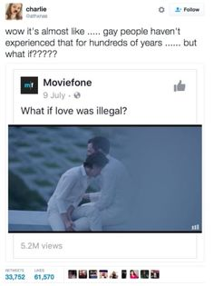 Wow it's almost like . gay people haven't experienced that for hundreds of years . Moviefone I. 9 July - e) What if love was illegal? Lgbt Memes, Funny Memes, Hilarious, Haha, Faith In Humanity, Social Issues, Social Justice, Decir No, Politics