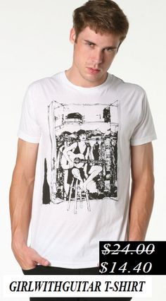 50% Discount. Girl with guitar t-shirt. Now it's only.... $14.40