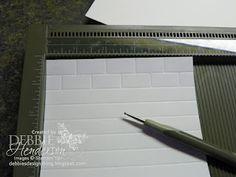 Brick Wall background using a score board ~ http://debbiesdesignsblog.blogspot.com/2012/04/tuesday-tips-or-techniques-brick-wall.html