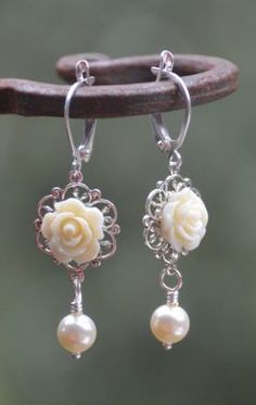 Romantic Ivory Rose and Ivory Swarovski Pearl Earrings
