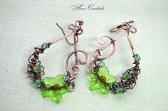 Earrings, copper, Jewelry, chandelier earrings, wild plants, green, Wire Wrap, quartz, crystal