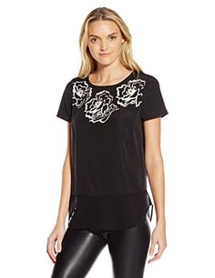 Kensie Womens Floral Brushstroke Placement Top Black Combo XSmall *** Be sure to check out this awesome product.