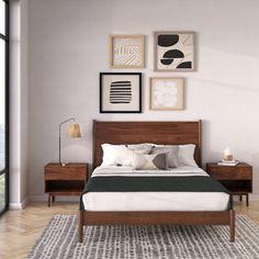 Contemporary Bedroom, Modern Bedroom, Midcentury Bedroom Decor, Modern Wood Bed, Modern Contemporary, Bedroom Sets, Home Bedroom, Master Bedroom, Bedrooms