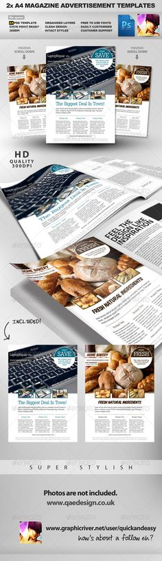 2 Feature Image A4 Magazine Ad Layout - Magazines Print Templates