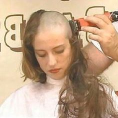 Sitting there in stunned silence as her long beautiful tresses are amputated at the scalp by the merciless clippers. Shaved Hair Cuts, Short Hair Cuts, Short Hair Styles, Shaved Heads, Bald Hair, My Hair, Hair Art, Punishment Haircut, Bald Head Women