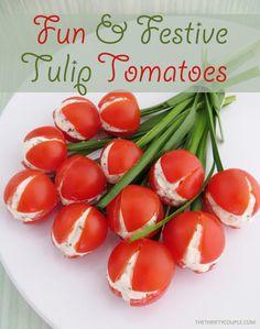 Cream Cheese Stuffed Cherry Tomato Tulips Recipe (Fun, Festive, Easy and Frugal Recipe)