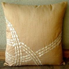 Dreamer - Decorative Pillow Covers - Silk Pillow Cover with Mother Of Pearl :     Price: $24.00    .        Dreamer - Decorative Throw Pillow Cover. This pillow cover is made using Silk Dupioni fabric, hand embroidered with different shapes of Mother Of Pearl. Materials Used - Silk Dupioni, Mother Of Pearl. The color of the pillow cover is Gold. The back of the pillow is the sam...Check Price >> http://gethotprice.com/appin/?t=B003QA6X3E