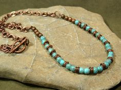 + Turquoise Necklace - Beaded Necklace - Chain Necklace - Copper Necklace - Southwest Necklace - Choker Necklace. $48.00, via Etsy.
