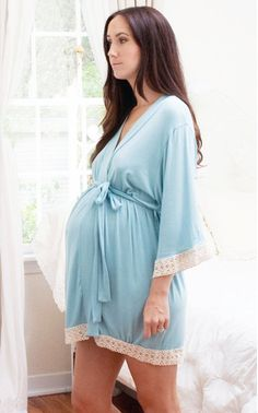 Maternity Hospital Gown Delivery Robe - Blue - Perfect as labor delivery gown, nursing mothers, for moms & to be moms, Pregnancy Photoprops