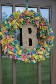 Spring Burlap Rag Wreath - Burlap Wreath with Jute Wrapped Letter on Etsy, $55.00