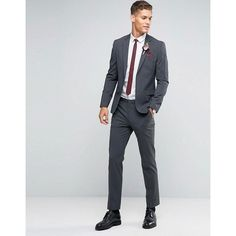 90d2f0d118ba0 ASOS WEDDING Slim Suit Jacket with Stretch in Charcoal (101