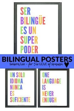 Being bilingual is a super power! Ser bilingue es un superpoder. Decorate your Spanish classroom and promote pride in being bilingual. Includes two colorful posters in Spanish & English. Decorate the bulletin boards of your ELL / dual language / Spanish class. #beingbilingualisasuperpower #serbilingue #spanishposters #spanishquotes #spanishclassroomdecor