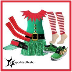 Christmas Elf Running Costume - complete with Sparkle Athletic skirt, sleeves, race legs, Shwings and visor! Santa's Little Helper!   Running   Race Costume   Sparkle Athletic   #TeamSparkle   Christmas   Athletic Costume