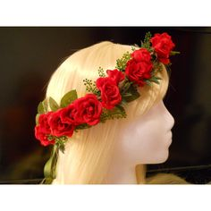Flower Crown, Head Wreath, Red, Rose, Love, Wedding, Christmas,... ($30) ❤ liked on Polyvore featuring home, home decor, holiday decorations, holiday christmas wreaths, red wreath, rose wreath, xmas wreaths and christmas holiday decor