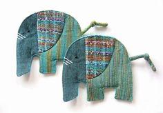 Handmade Elephant Coaster Fabric Coaster Set of 2 by BlueTembo, $12.00