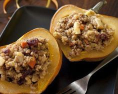 Nothing screams fall more than acorn squashes, and when they're stuffed with other seasonal ingredients like mushrooms, chickpeas, cranberries, and pumpkin seeds, they become a delicious cold-weather dish. This recipe uses quinoa as a base for the stuffing and adds unique ingredients like cilantro to create flavor unlike any other.