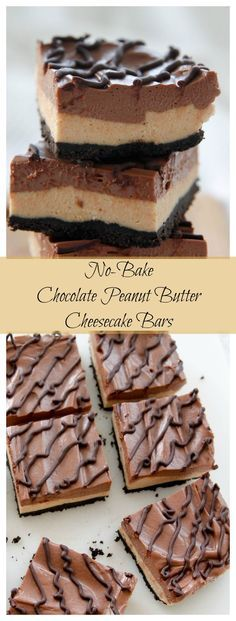 Perfect for those days when you don't want to turn on the oven-this No Bake Chocolate Peanut Butter Cheesecake tastes just like eating a peanut butter cup. No Bake Chocolate Desserts, No Bake Chocolate Cheesecake, Peanut Butter Cup Cheesecake, Peanut Butter Chocolate Bars, Chocolate Chocolate, Peanut Butter Desserts, Delicious Desserts, Cheesecake Brownie Bars, Sopapilla Cheesecake