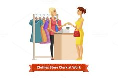 Clothes store clerk at work. Clothes Icons. $5.00