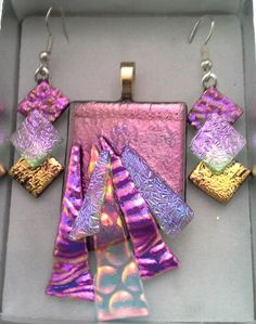 Abstract Dichroic Glass Pendant & Earring Set. http://fairiesonthewalk.com.au/product/abstract-blue-green-peacock-bubble-texture/