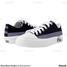 Navy Blues Stripes Printed Shoes
