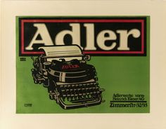 Lucian Bernhard (German, 1883-1972) for Adler (Germany). Adler Typewriter, 1909-10. Lithograph. Printed by Hollerbaum & Schmidt (Berlin, Germany). 34.5 x 47 cm (13 9/16 x 18 1/2 in.). Gift of the Eric Kellenberger Collection, Switzerland, and museum purchase from General Acquisitions Endowment, 2005-12-2. Photo by Matt Flynn.