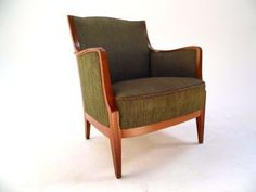 Vintage Scandinavian Olive Green Wool & Oak Armchair Midcentury Chair 1950s