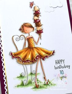 Stamping Bella Uptown Girl Isabella Loves Her Ice Cream (close-up) Copic markers – Birthday Wishes Gif, Birthday Blessings, Happy Birthday Messages, Happy Birthday Quotes, Happy Birthday Images, Happy Birthday Greetings, Cute Happy Birthday, Happy B Day, Copics