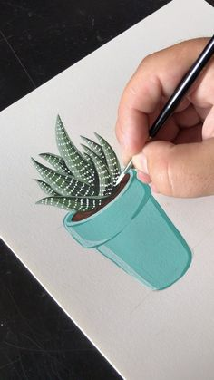 Painting a Potted Haworthia Succulent with Gouache by Philip Boelter Cactus Painting, Space Painting, Succulents Painting, Succulents Drawing, Cactus Drawing, Wall Drawing, Cactus Art, Painting On Wall, Succulents Art